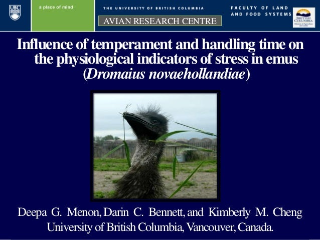 Influence of temperament and handling time on the physiological indicators of stress in emus (Dromaius novaehollandiae) AV...