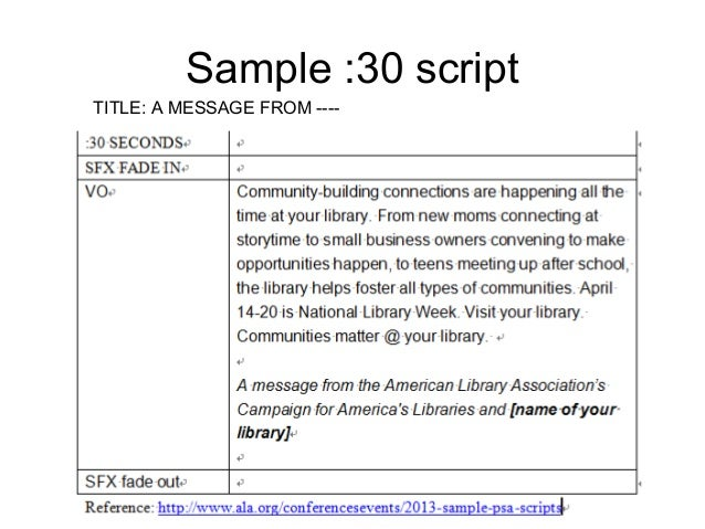 2013 Sample Public Service Announcement Scripts