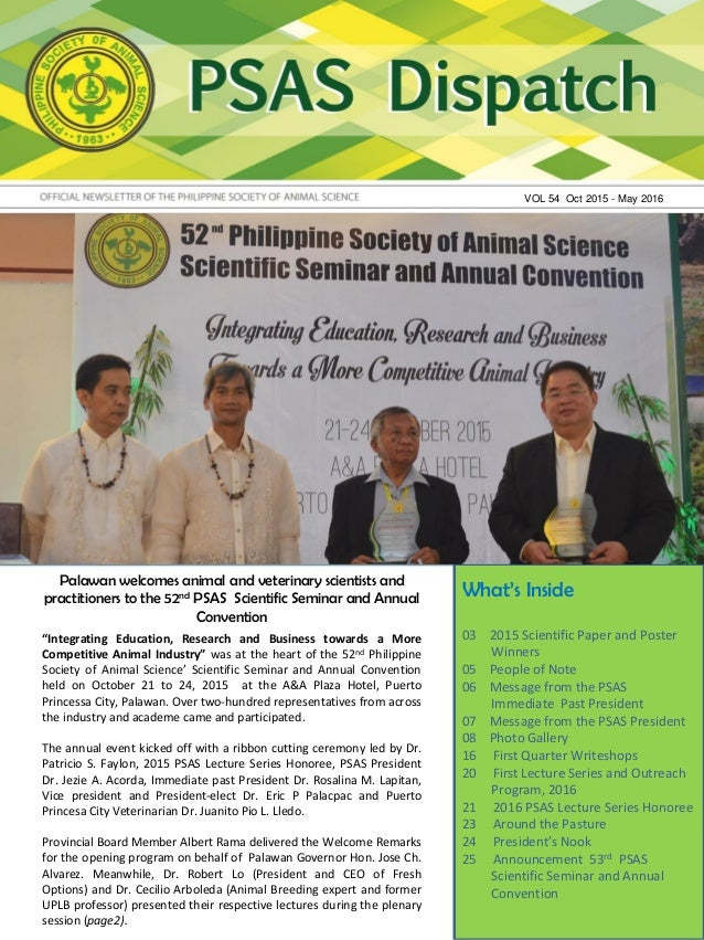 Palawan welcomes animal and veterinary scientists and practitioners to the 52nd PSAS Scientific Seminar and Annual Convent...
