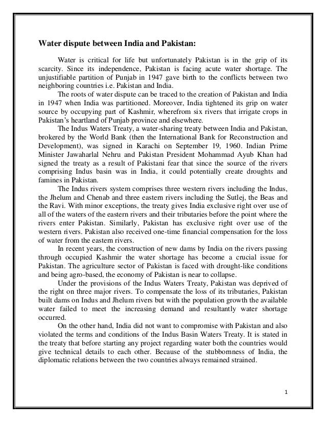 Pakistan india water dispute essay examples