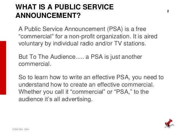 Essay on public service announcement