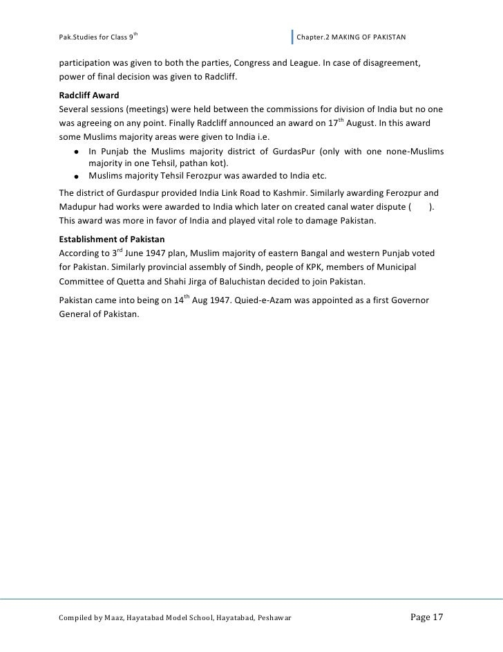 Pakistan studies for class 9th Notes