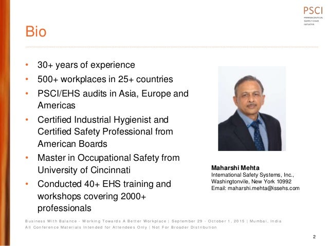 Psci 1 pres environmental and safety regulatory overview maharshi mehta final Slide 2