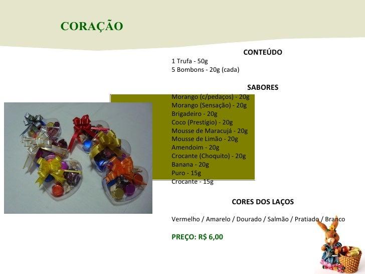CONTEÚDO 1 Trufa - 50g 5 Bombons - 20g (cada) SABORES Morango (c/pedaços) - 20g Morango (Sensação) - 20g Brigadeiro - 20g ...