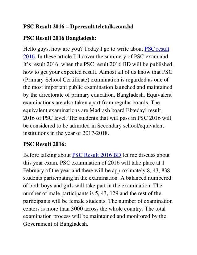 PSC Result 2016 – Dperesult.teletalk.com.bd PSC Result 2016 Bangladesh: Hello guys, how are you? Today I go to write about...