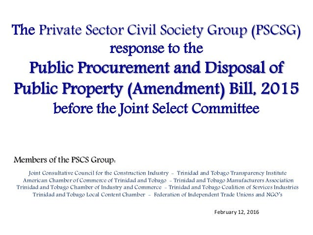 The Private Sector Civil Society Group (PSCSG) response to the Public Procurement and Disposal of Public Property (Amendme...