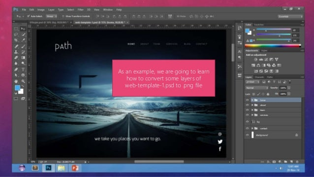 how to export a layer from adobe photoshop to a png file for creati