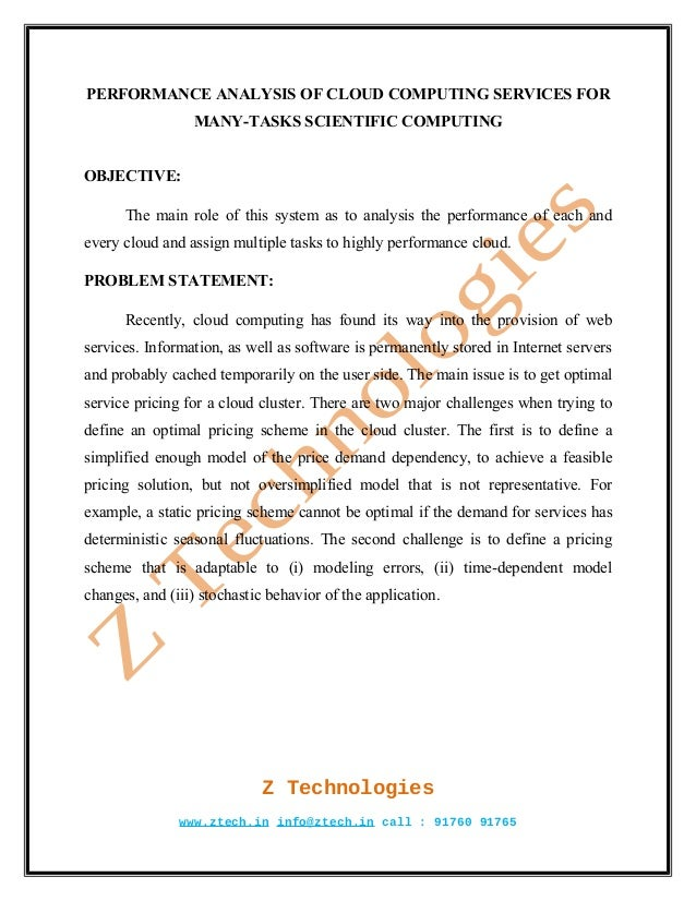 PERFORMANCE ANALYSIS OF CLOUD COMPUTING SERVICES FOR                 MANY-TASKS SCIENTIFIC COMPUTINGOBJECTIVE:      The ma...