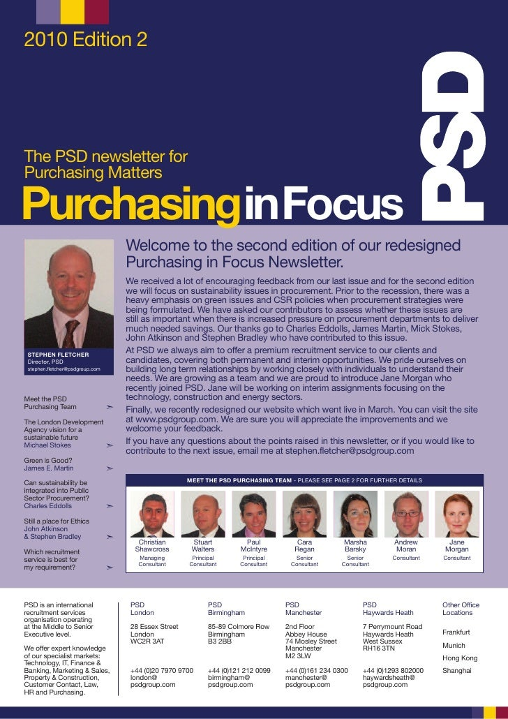 2010 Edition 2     The PSD newsletter for Purchasing Matters  PurchasinginFocus                                      Welco...