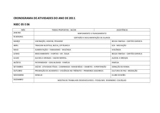 CRONOGRAMA DE ATIVIDADES DO ANO DE 2011NSEC 05 E 06          MÊS                    TEMAS PROPOSTOS - SAÚDE               ...