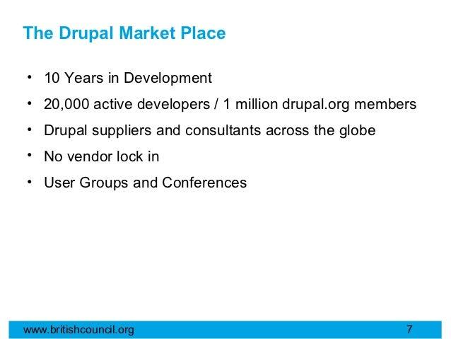 The Drupal Market Place• 10 Years in Development• 20,000 active developers / 1 million drupal.org members• Drupal supplier...