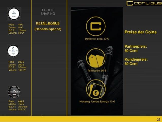 25  PROFIT SHARING RETAIL BONUS (Handels-Spanne)  Preis: 699 € Conins: 750 € B.E.P.: 20 Share Volume: 575 CV  Preis: 49 € ...