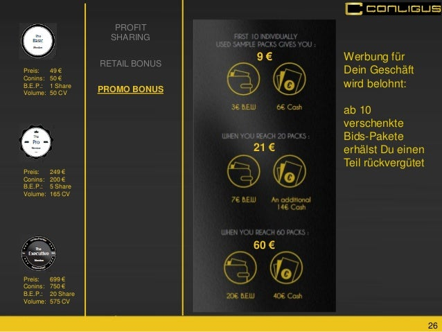 26  PROFIT SHARING RETAIL BONUS PROMO BONUS  9 €  21 €  60 €  Preis: 699 € Conins: 750 € B.E.P.: 20 Share Volume: 575 CV  ...