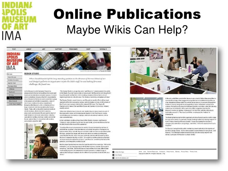 Online PublicationsMaybe Wikis Can Help?<br />