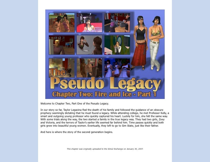 Welcome to Chapter Two, Part One of the Pseudo Legacy.  In our story so far, Taylor Legacina fled the death of his family ...