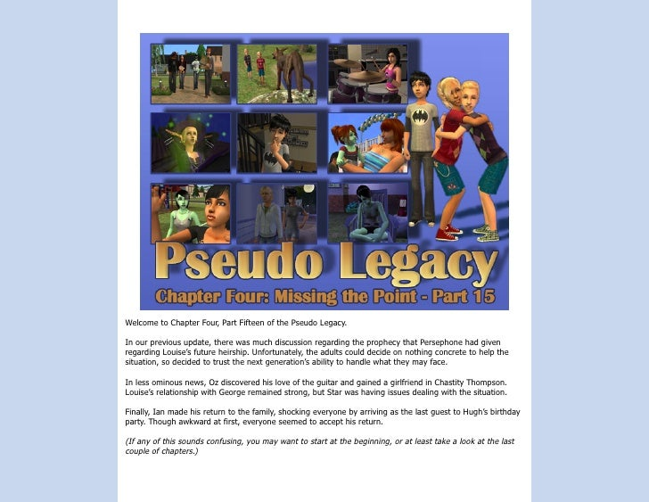 Welcome to Chapter Four, Part Fifteen of the Pseudo Legacy.  In our previous update, there was much discussion regarding t...