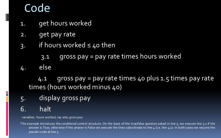 Code<br />1.gethours worked<br />2.getpay rate<br />3.ifhours worked ≤ 40 then<br />3.1...