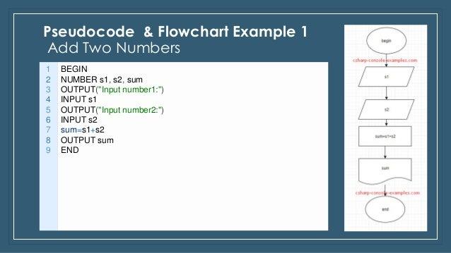 Pseudocode & flowchart examples