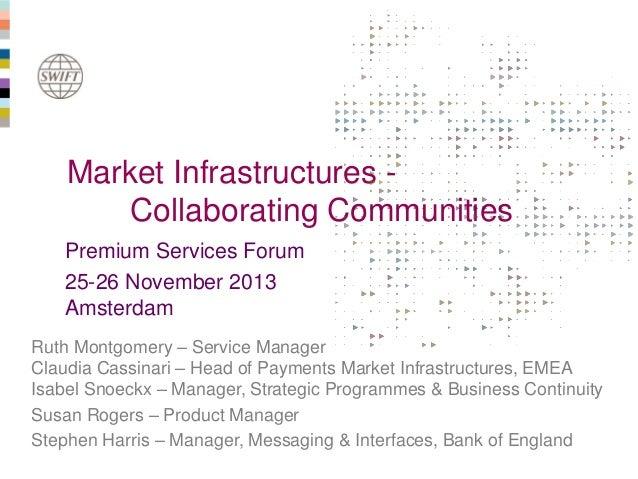Market Infrastructures Collaborating Communities Premium Services Forum 25-26 November 2013 Amsterdam Ruth Montgomery – Se...
