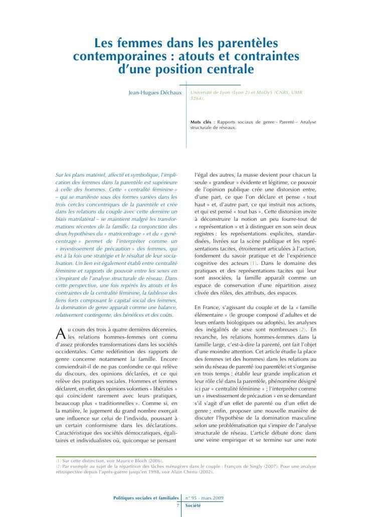 Les femmes dans les parentèles         contemporaines : atouts et contraintes                d'une position centrale      ...