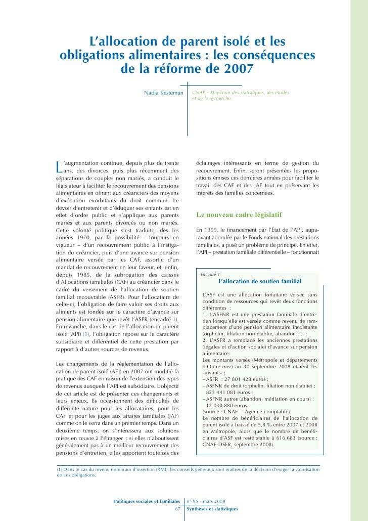 L'allocation de parent isolé et les  obligations alimentaires : les conséquences             de la réforme de 2007        ...