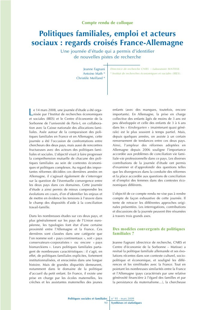 Compte rendu de colloque     Politiques familiales, emploi et acteurs  sociaux : regards croisés France-Allemagne         ...