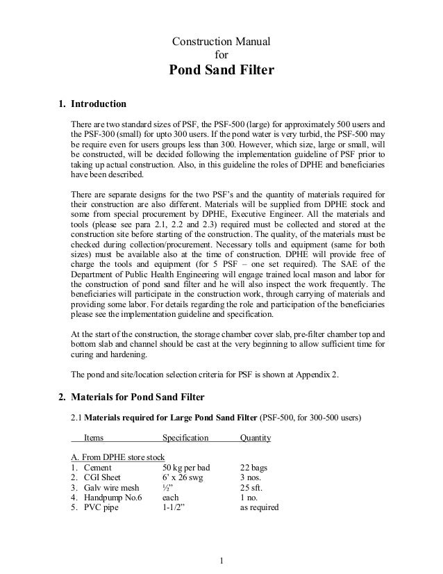 Construction Manual                                       for                              Pond Sand Filter1. Introduction...
