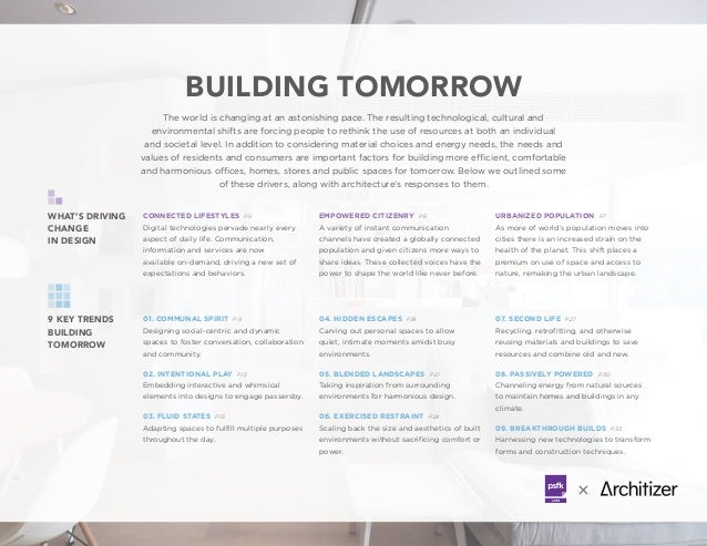 BUILDING TOMORROW 9 KEY TRENDS BUILDING TOMORROW WHAT'S DRIVING CHANGE IN DESIGN The world is changing at an astonishing p...