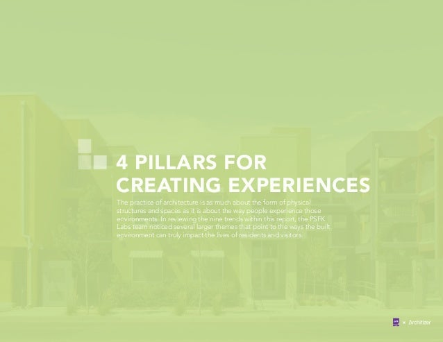 4 PILLARS FOR CREATING EXPERIENCES The practice of architecture is as much about the form of physical structures and space...