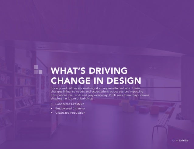 WHAT'S DRIVING CHANGE IN DESIGN Society and culture are evolving at an unprecedented rate. These changes influence needs a...
