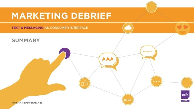 Delet Heyyyyy TEXT & MESSAGING AS CONSUMER INTERFACE MARKETING DEBRIEF SUMMARY @PSFK | #PowerOfChat