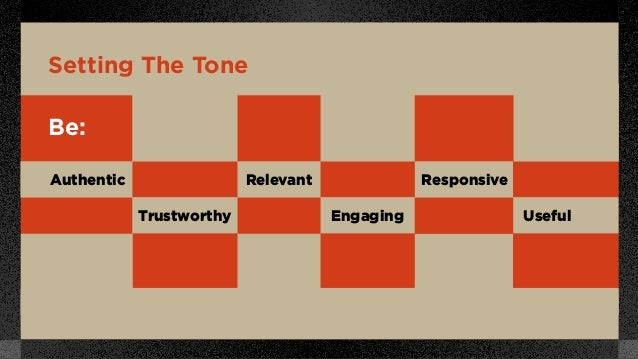 Setting The Tone Be: Authentic Trustworthy Relevant Engaging Responsive Useful