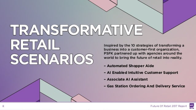 TRANSFORMATIVE RETAIL SCENARIOS Inspired by the 10 strategies of transforming a business into a customer-first organizatio...