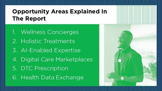 Opportunity Areas Explained In The Report 1. Wellness Concierges 2. Holistic Treatments 3. AI-Enabled Expertise 4. Digital...