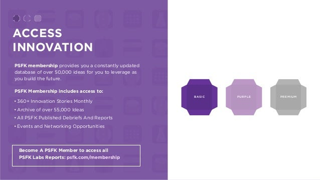 ACCESS INNOVATION PSFK membership provides you a constantly updated database of over 50,000 ideas for you to leverage as y...