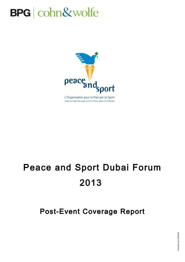 Peace and Sport Dubai Forum 2013 Post-Event Coverage Report