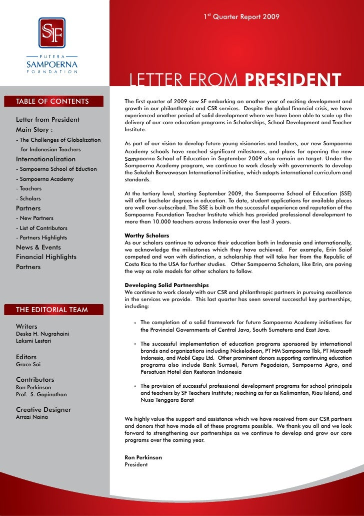 1st Quarter Report 2009                                     LETTER FROM PRESIDENTTABLE OF CONTENTS                   The f...