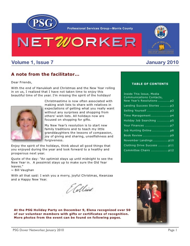 Volume 1, Issue 7                                                                       January 2010  A note from the faci...