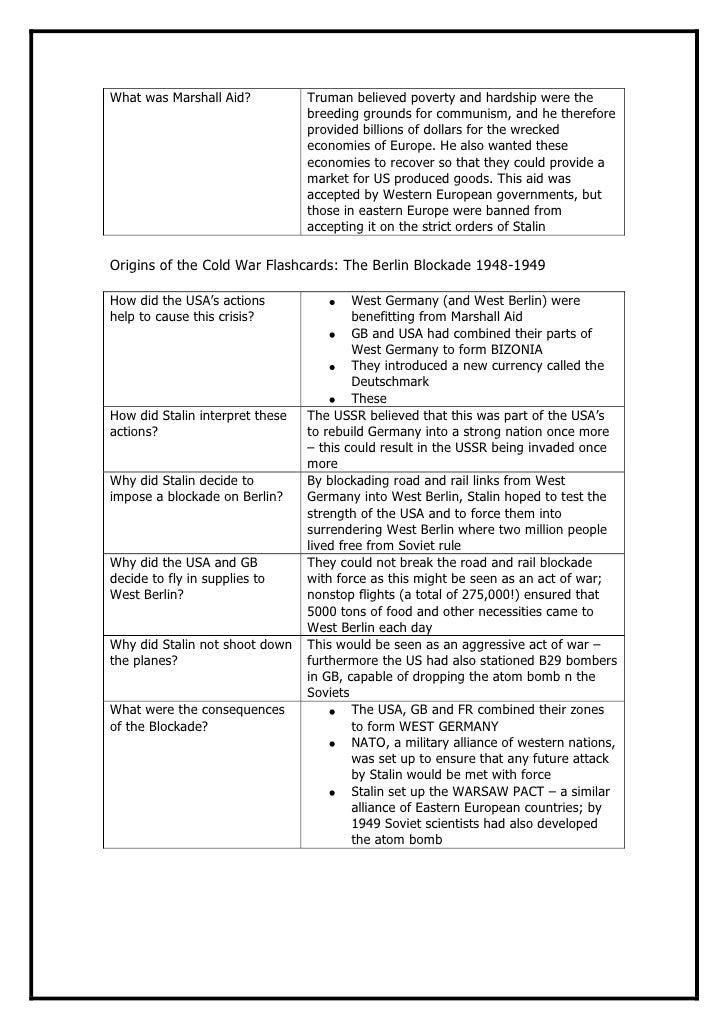 Psh 2012 origins cold war revision pack – Origins of the Cold War Worksheet