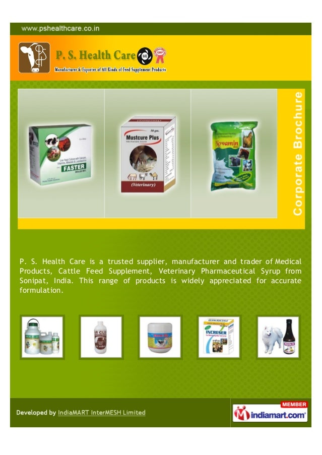 P. S. Health Care is a trusted supplier, manufacturer and trader of MedicalProducts, Cattle Feed Supplement, Veterinary Ph...