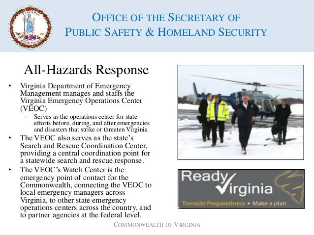 Virginia public safety homeland security - Office of homeland security and preparedness ...