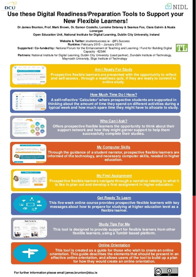 Use these Digital Readiness/Preparation Tools to Support your New Flexible Learners! Dr James Brunton, Prof. Mark Brown, D...