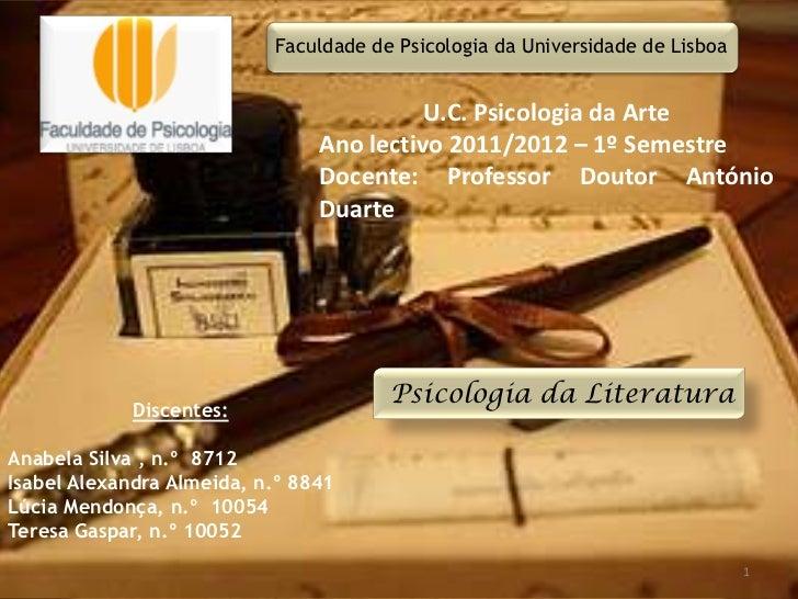 Faculdade de Psicologia da Universidade de Lisboa                                          U.C. Psicologia da Arte        ...