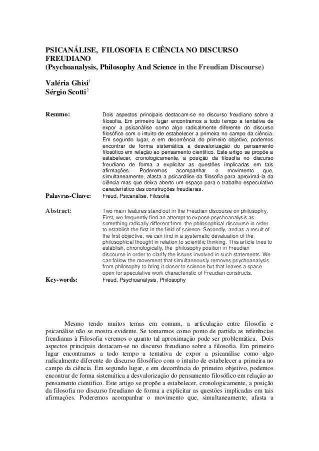 PSICANÁLISE, FILOSOFIA E CIÊNCIA NO DISCURSO FREUDIANO (Psychoanalysis, Philosophy And Science in the Freudian Discourse) ...
