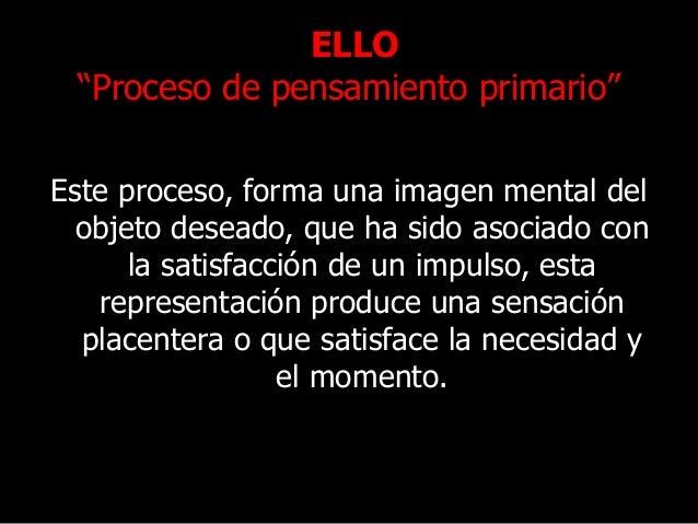 """ELLO """"Proceso de pensamiento primario"""" Este proceso, forma una imagen mental del objeto deseado, que ha sido asociado con ..."""