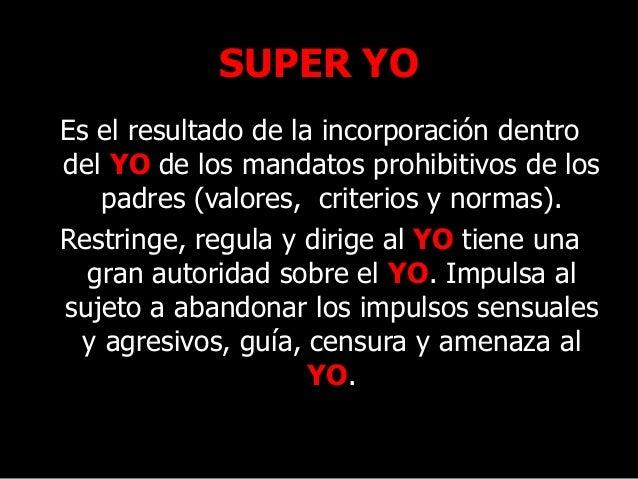 SUPER YO Es el resultado de la incorporación dentro del YO de los mandatos prohibitivos de los padres (valores, criterios ...