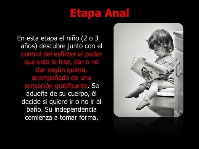 Etapa Anal En esta etapa el niño (2 o 3 años) descubre junto con el control del esfínter el poder que esto le trae, dar o ...