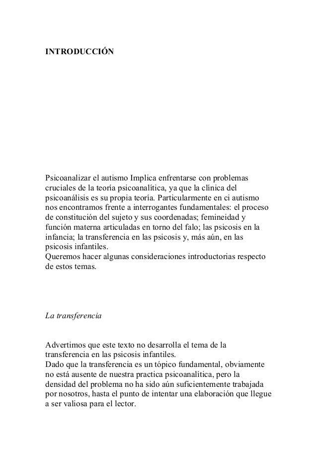Etiologia del autismo psicoanalisis pdf