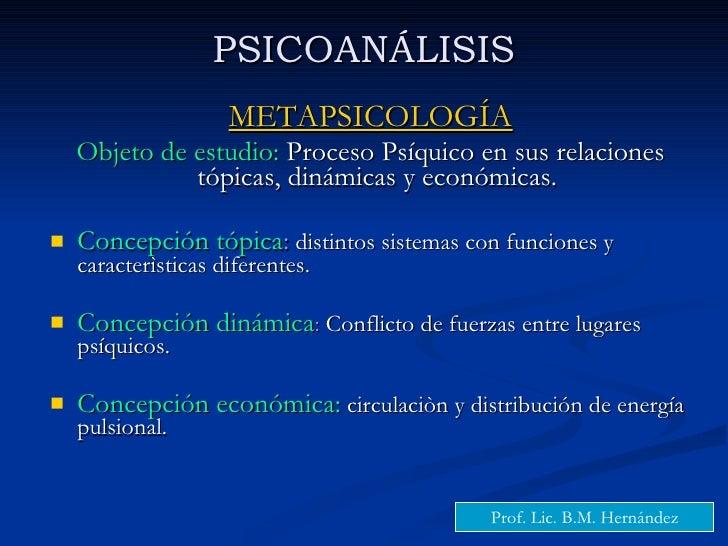 PSICOANÁLISIS <ul><li>METAPSICOLOGÍA </li></ul><ul><li>Objeto de estudio:  Proceso Psíquico en sus relaciones tópicas, din...