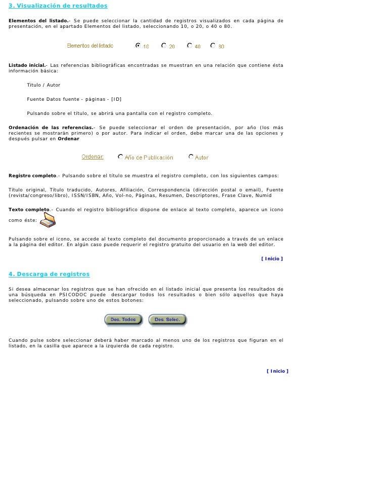 3. Visualización de resultados  Elementos del listado.- Se puede seleccionar la cantidad de registros visualizados en cada...